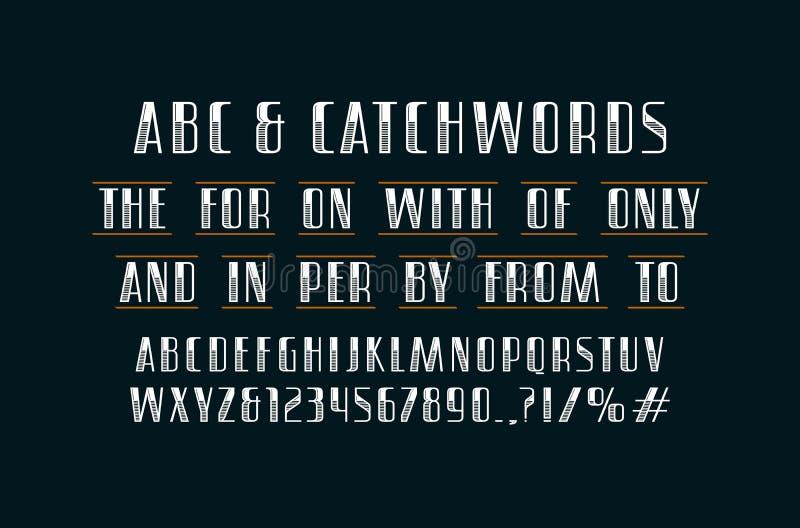 Fuente adornada y lemas de sans serif libre illustration
