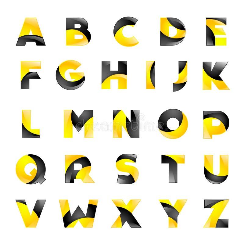 Fuente amarilla y negra creativa para su stock de ilustración