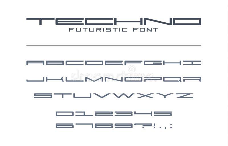 Fuente ancha futurista de Techno Geométrico, deporte, futuro, alfabeto de la tecnología digital Letras y números para los militar ilustración del vector