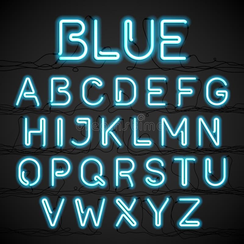 Fuente azul de la luz de neón stock de ilustración