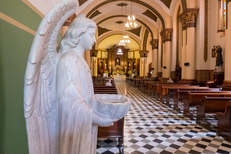 Fuente bautismal en la forma de una iglesia San Jose del ángel del pobla imagen de archivo libre de regalías