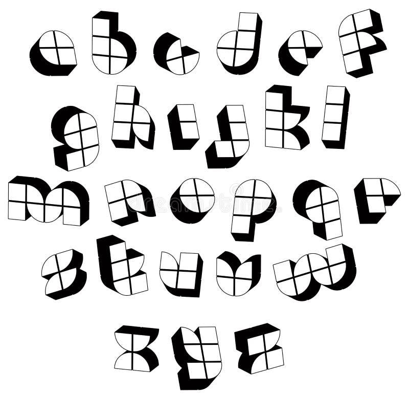 Fuente blanco y negro futurista 3d hecha con los bloques stock de ilustración