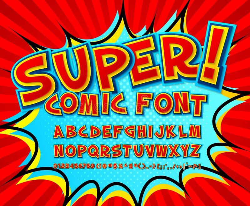 Fuente cómica creativa Alfabeto del vector en arte pop del estilo ilustración del vector