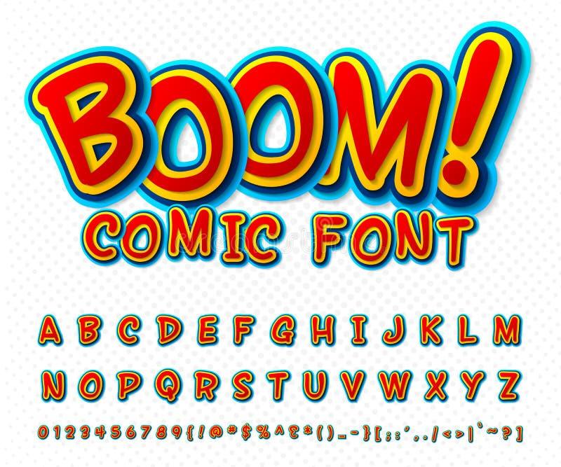 Fuente cómica creativa Alfabeto del vector en estallido del estilo stock de ilustración