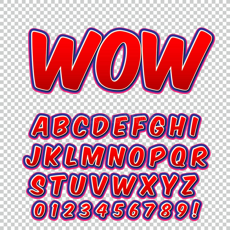 Fuente cómica del alto detalle creativo Alfabeto de tebeos, arte pop ilustración del vector