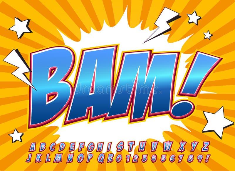 Fuente cómica del alto detalle creativo Alfabeto en el estilo de los tebeos, arte pop libre illustration