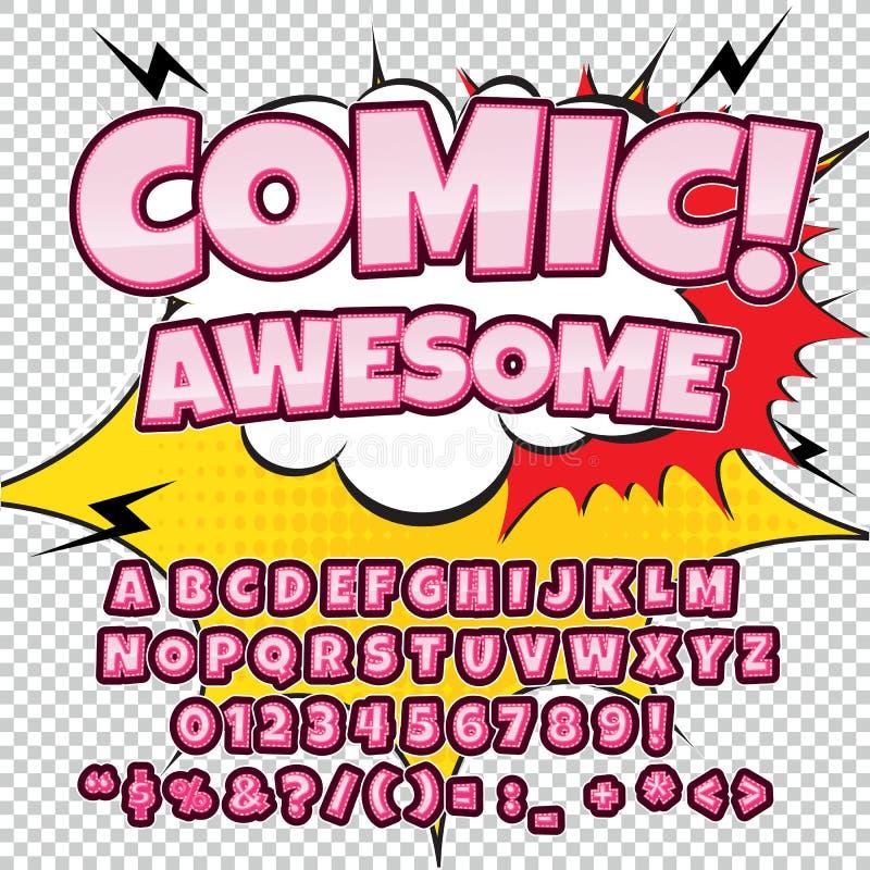 Fuente cómica del alto detalle creativo Alfabeto en el estilo de los tebeos, arte pop Letras y figuras para la decoración de niño libre illustration