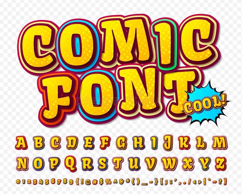 Fuente cómica del alto detalle creativo Alfabeto, tebeos, arte pop libre illustration
