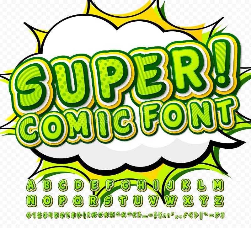 Fuente cómica del alto detalle verde, alfabeto Tebeos, arte pop libre illustration