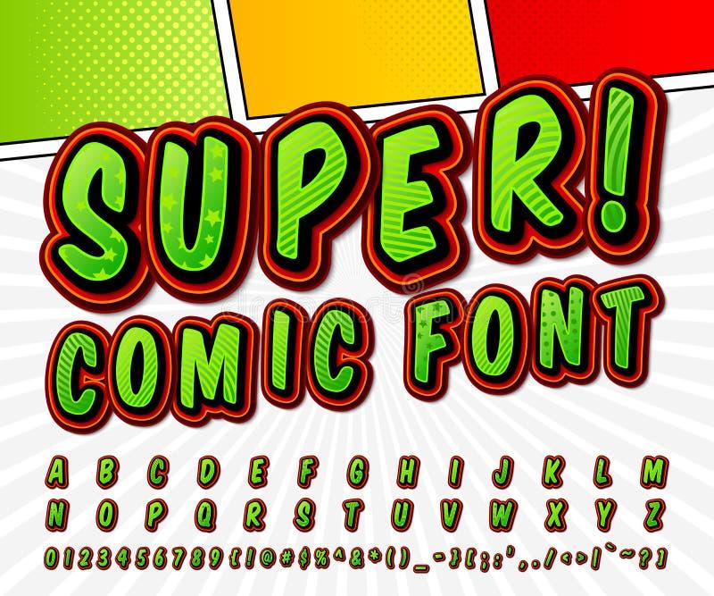 Fuente cómica del alto detalle verde, alfabeto Tebeos, arte pop ilustración del vector