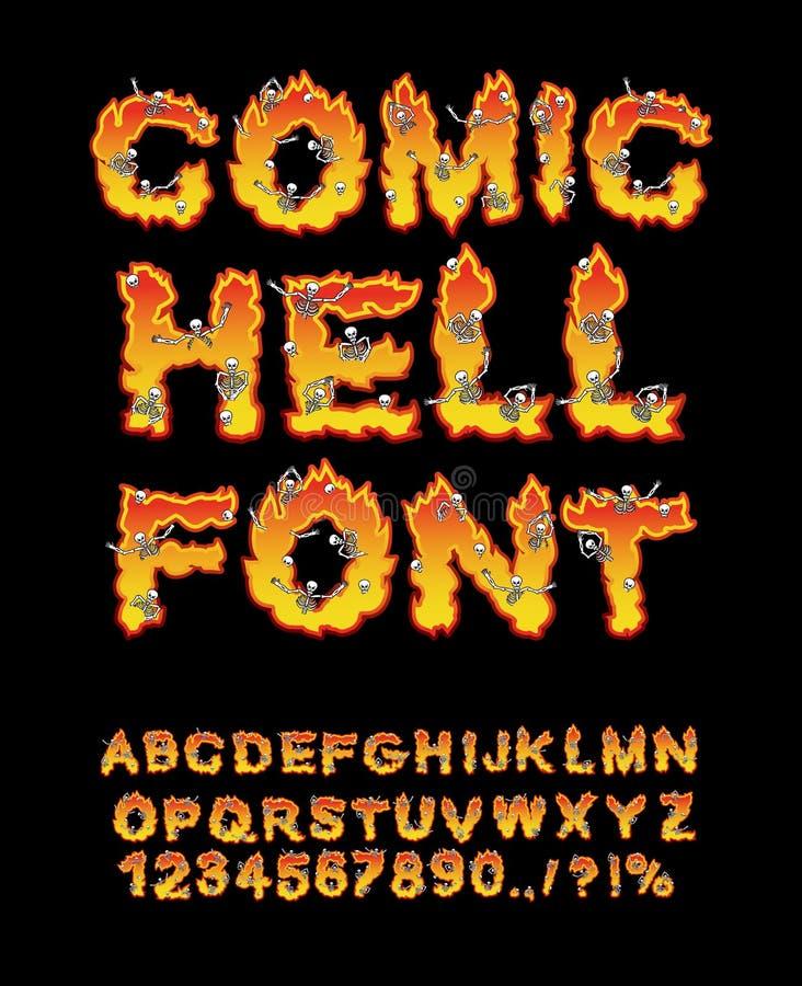 Fuente cómica del infierno infierno ABC Letras del fuego Pecadores en hellfire libre illustration