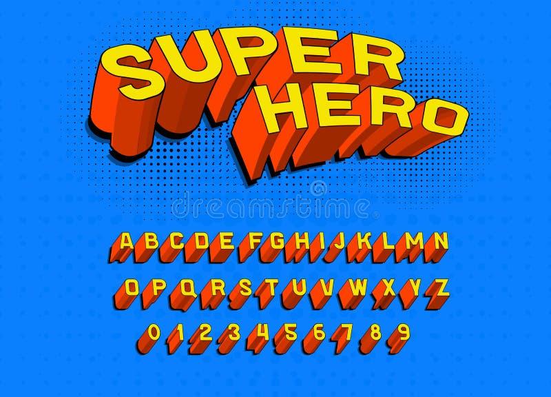 Fuente cómica del juego para los carteles Alfabeto retro del arte pop Tipografía futurista del vintage 80 s, editable y acodado V stock de ilustración