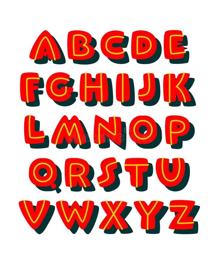 Fuente cómica intrépida del estilo del garabato Alfabeto del vector ilustración del vector