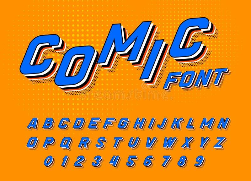 Fuente cómica para los carteles Alfabeto retro del juego del arte pop Tipografía futurista del vintage 80 s, editable y acodado V stock de ilustración
