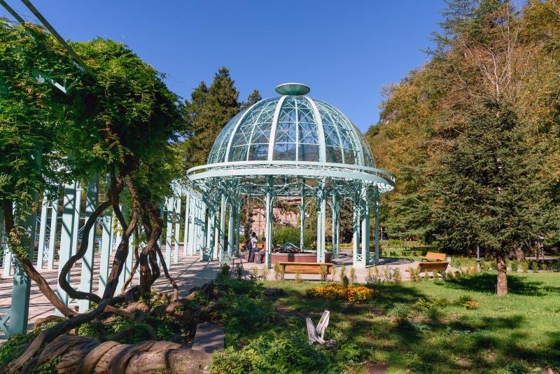 Fuente caliente en parque del agua mineral en Borjomi georgia fotos de archivo