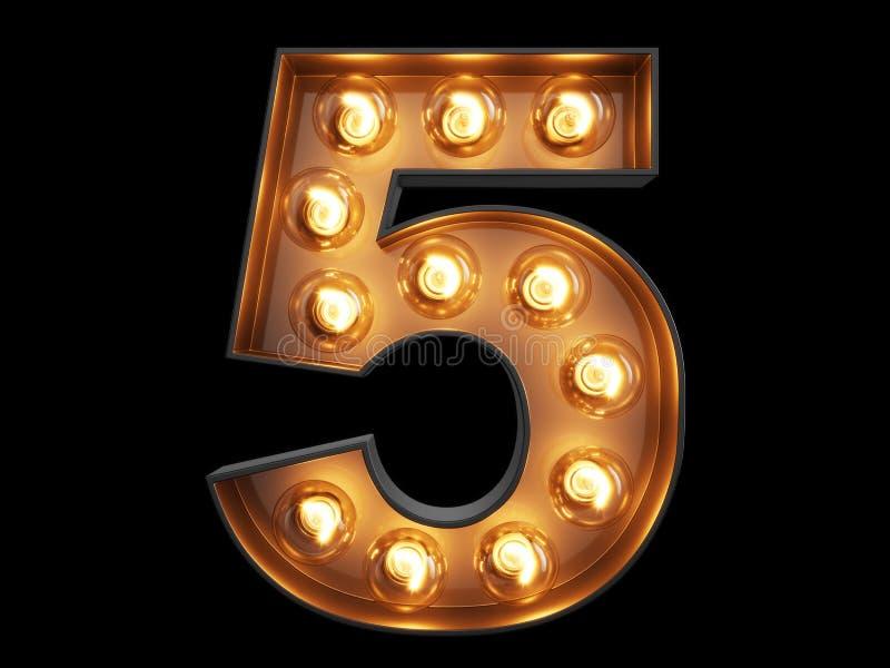 Fuente cinco del carácter 5 del alfabeto del dígito de la bombilla ilustración del vector