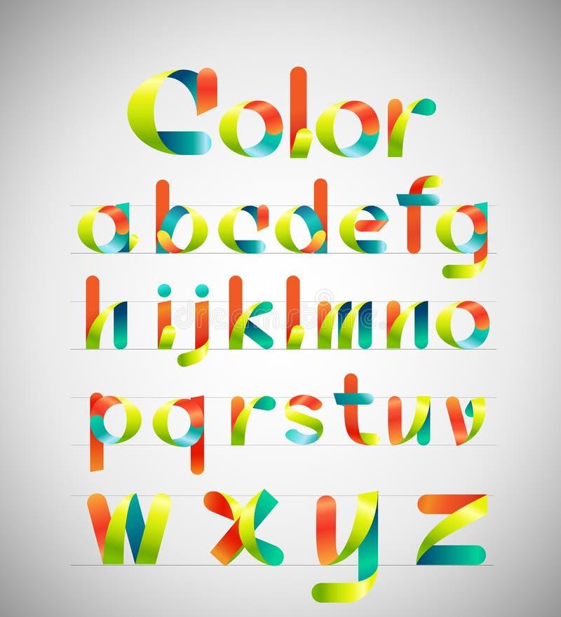Fuente colorida del vector alfabeto colorido de la cinta A-z minúsculo Ilustración del vector ilustración del vector