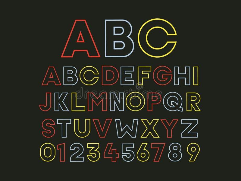 Fuente colorida geométrica de moda retra moderna en un fondo negro Efecto resumido plano de la tipografía de la luz de neón del v ilustración del vector