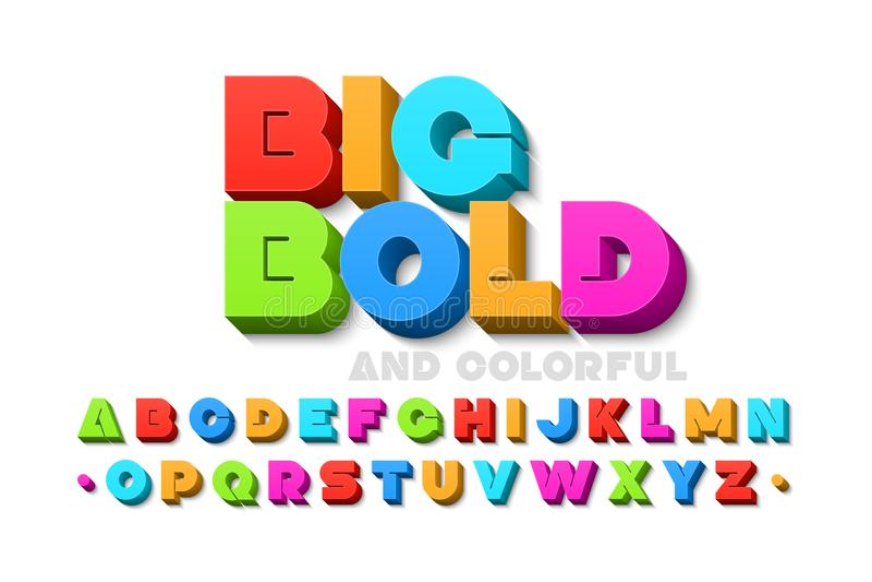 Fuente colorida intrépida 3d stock de ilustración