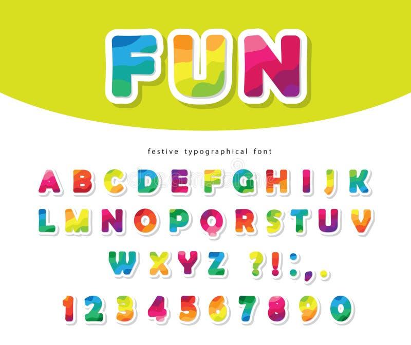 Fuente colorida moderna E Alfabeto flexible de moda Vector libre illustration