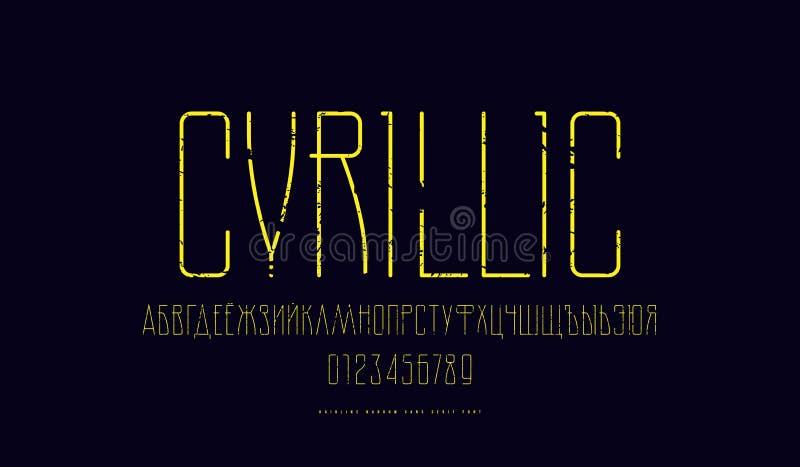 Fuente condensada vector cirílico de sans serif libre illustration