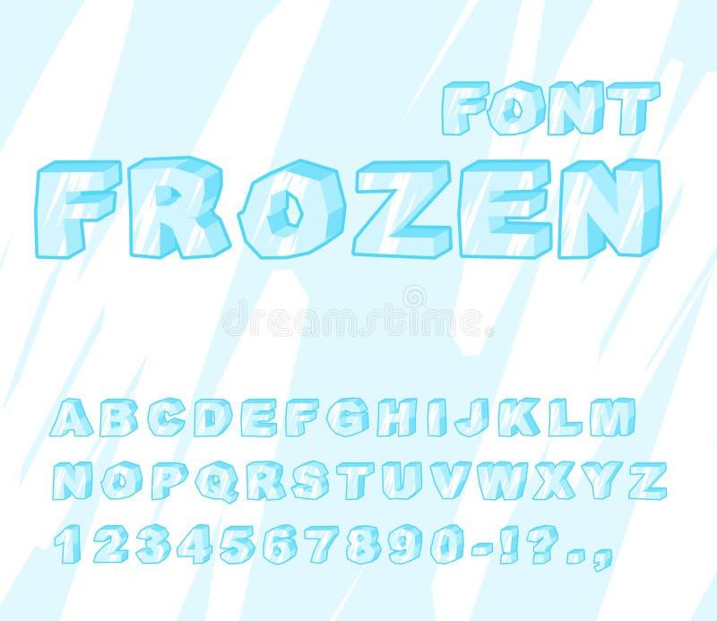 Fuente congelada Alfabeto del hielo ABC transparente Letras azules frías stock de ilustración