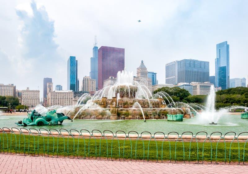 Fuente conmemorativa de Buckingham en Chicago Grant Park, los E.E.U.U. imagen de archivo