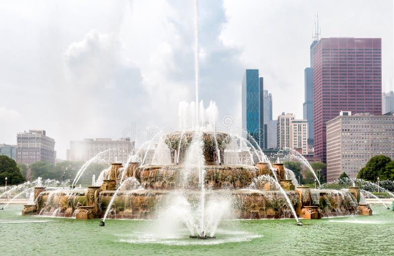 Fuente conmemorativa de Buckingham en Chicago Grant Park, los E.E.U.U. fotografía de archivo libre de regalías