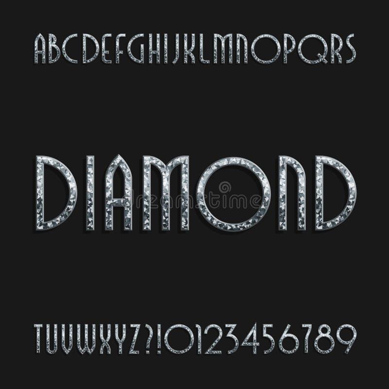 Fuente cristalina del alfabeto del diamante Letras y números adornados del art déco de la joyería libre illustration