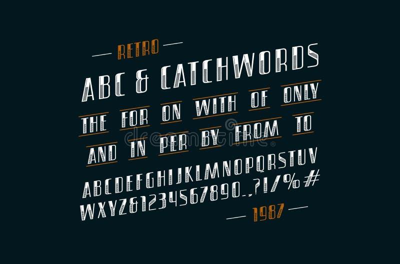 Fuente cursiva adornada y lemas de sans serif ilustración del vector