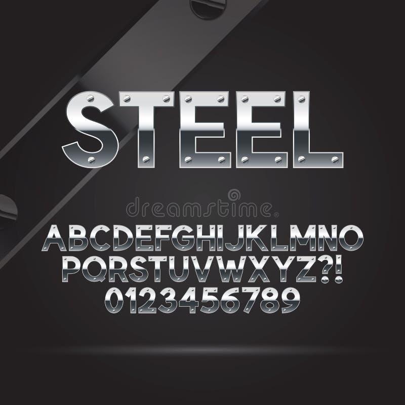 Fuente de acero y números stock de ilustración