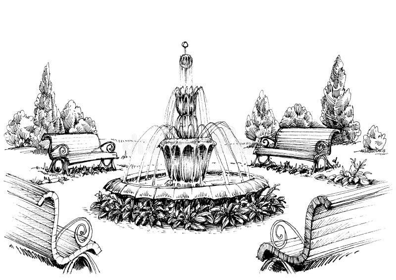 Fuente de agua ilustración del vector