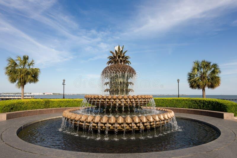 Fuente de agua de la piña en Charleston, SC imagen de archivo libre de regalías