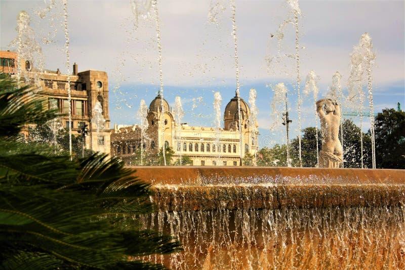 Fuente de agua del parque de Barcelona en verano foto de archivo libre de regalías