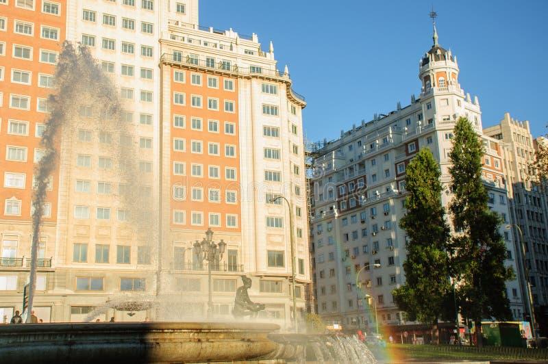 Fuente de agua en Madrid imágenes de archivo libres de regalías