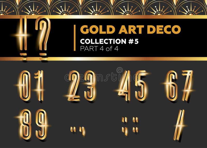 Fuente de Art Deco 3D del vector Alfabeto retro del oro brillante Pocilga de Gatsby ilustración del vector