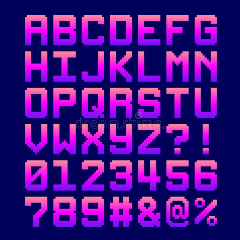 fuente de 8 bits del pixel - letras y números en una pendiente rosada libre illustration