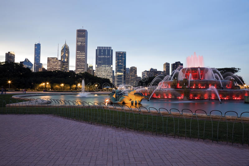 Fuente de Buckingham en Chicago fotos de archivo libres de regalías