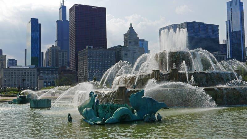 Fuente de Buckingham en Chicago céntrica imágenes de archivo libres de regalías