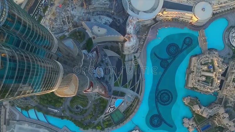 Fuente de Dubai según lo visto de Burj Khalifa, Dubai United Arab Emirates existencias Vista superior del centro de la ciudad de  fotografía de archivo