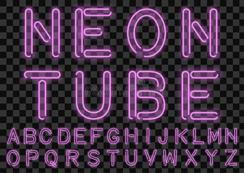 Fuente de encargo de neón rosada de las bombillas Alfabeto Handcrafted para el diseño Vector ilustración del vector