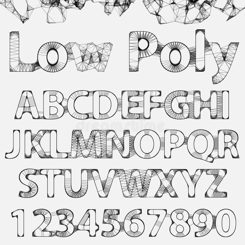 Fuente de esquema de Lowpoly del vector stock de ilustración
