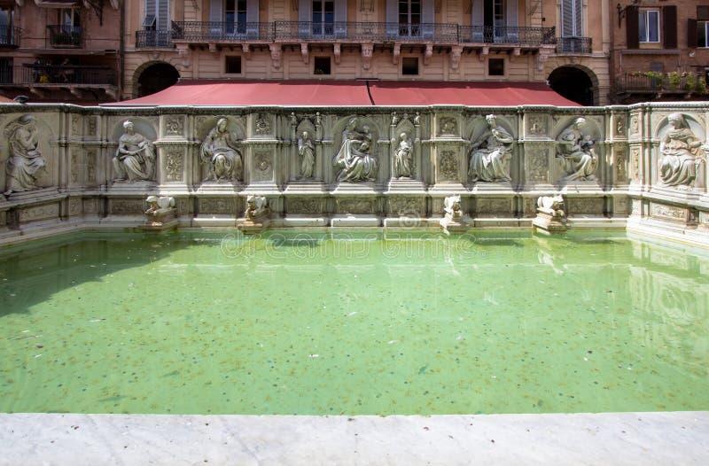 Fuente de Fonte Gaia en el cuadrado de Piazza del Campo, Siena, Italia imagen de archivo