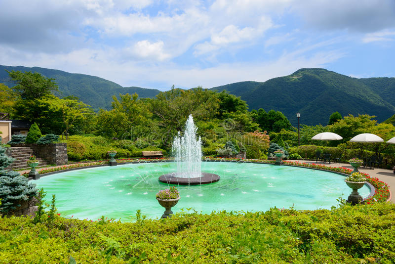 Fuente de Gora Park en Hakone, Kanagawa, Japón fotografía de archivo libre de regalías