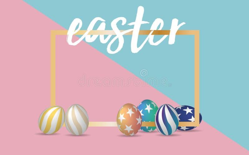 Fuente de Handrawn Pascua con los huevos de 3d Pascua en fondo de la paleta de colores del rosa en colores pastel y del verde Ilu ilustración del vector