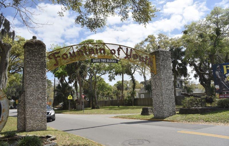 Fuente de la entrada arqueológica del parque de la juventud, St Augustine, la Florida foto de archivo libre de regalías