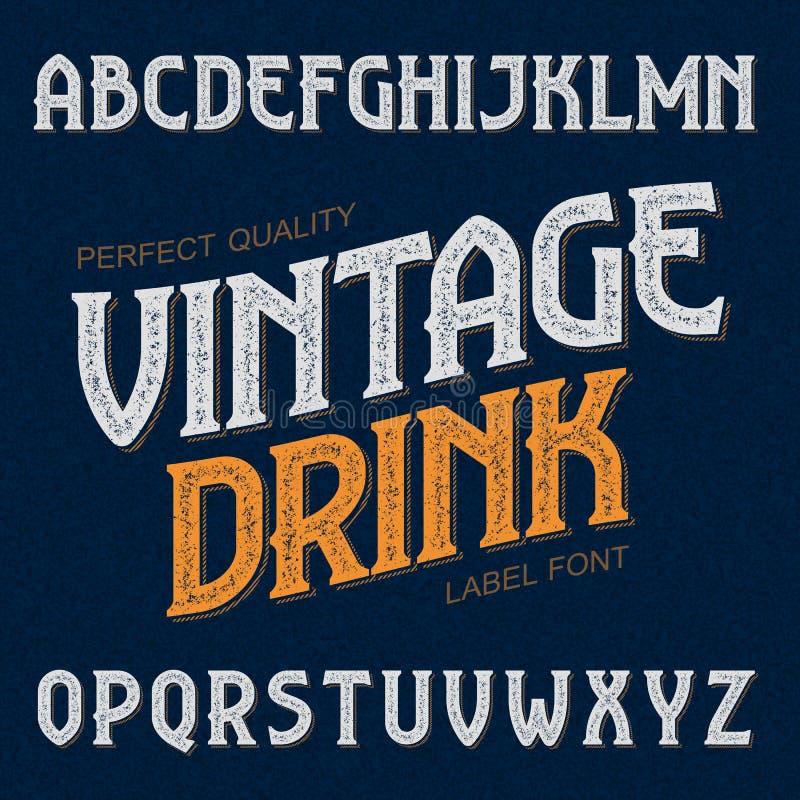Fuente de la etiqueta de la bebida del vintage ilustración del vector