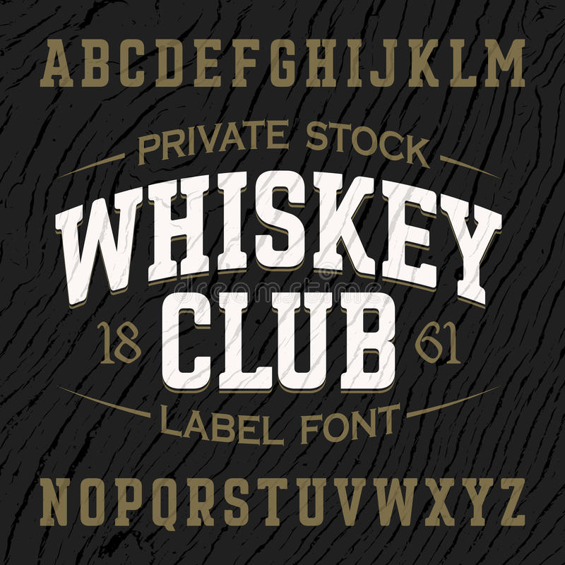 Fuente de la etiqueta del estilo del vintage con diseño de muestra ilustración del vector