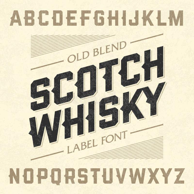 Fuente de la etiqueta del estilo del whisky escocés con diseño de muestra ilustración del vector