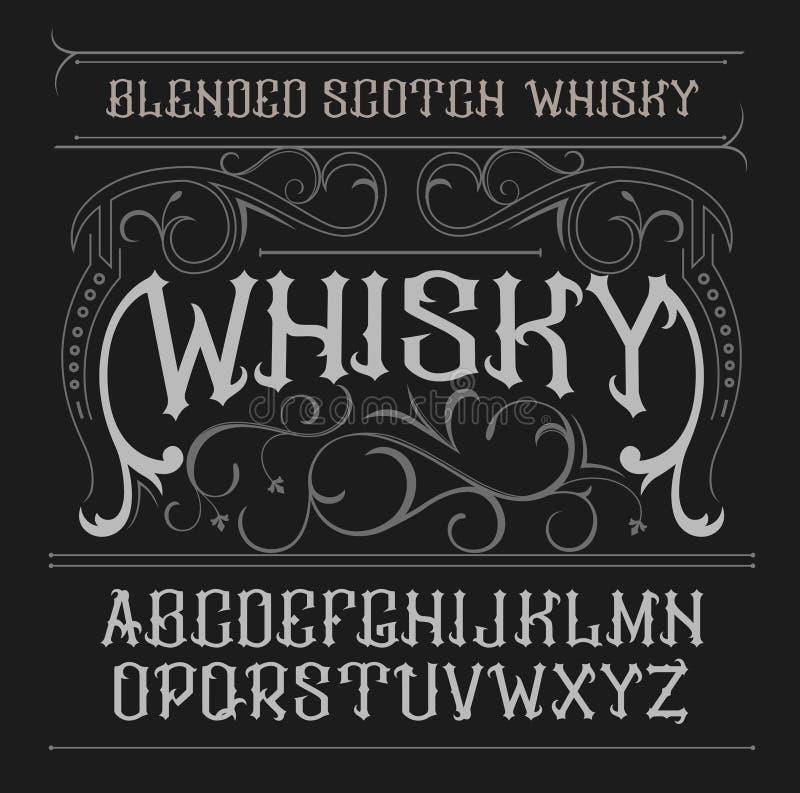 Fuente de la etiqueta del vintage del vector Estilo del whisky stock de ilustración